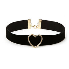 Woman Favorite Punk Goth flannel Heart Ring Collar Choker Funky Necklace Jewelry