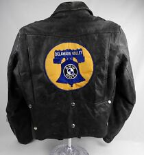 1980s Excelled Destroyed Black Leather Motorcycle Jacket BMW Club Men's Size 40