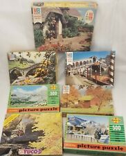 Lot of 7 Vintage Scenery Jigsaw Puzzles Milton Bradley, Built-Rite, and Tuco