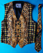 VEST vintage 90's V2 by VERSACE + TIE Gianni Versace made in Italy 50-L RARE