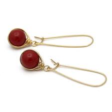 "ELEGANT & LANG ●  10mm SC Perlen Ohrringe ""korallen"" rot ygf 14k Gold 585"