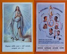 Santino Holy Card a libretto Rosario Missionario - Regina della Pace e del mondo