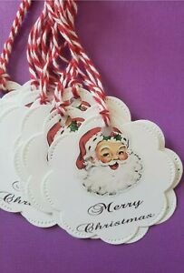 Scalloped Christmas Gift Tags with strings (10) gift tags cardstock