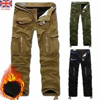 Mens Winter Warm Cargo Trousers Fleece Lined Thickened Army Combat Camo Pants