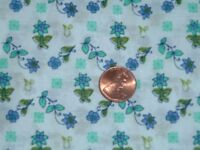 Vtg 70s Small Daisy Flowers Blue Teal Doll Clothes Quilt Sew Fabric 46x42 #mfb