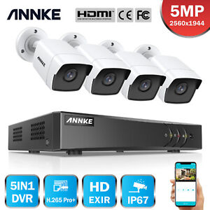 ANNKE 8CH DVR Outdoor CCTV HD 5MP Security Camera System Home Surveillance IP67