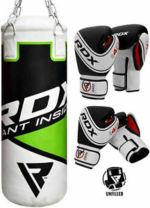RDX Kids Unfilled Punch Bag With Chain Gloves Junior Boxing Set MMA Training CA