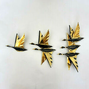 Vintage 3D Metal Geese in Flight Set of 3 MCM Wall Decor Gold and Black