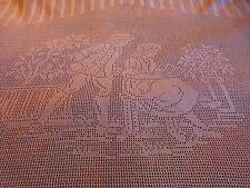 ancien et beau rideau crochet main coton art déco ,décor       c hampétre