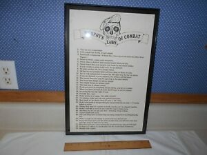 "33-pt. 'Murphy's Laws of Combat"", Famous Vietnam War-era ed., framed, 17"" x 11"""