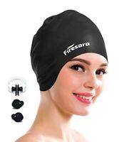 Swimming Cap for Long Hair, Firesara Waterproof Silicone Swim Cap for Dreadlocks
