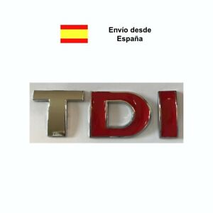 Letras TDI TD gris I roja Audi, Volkswagen, Skoda, Seat insignia logo decorativo