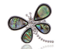 New Silver Tone Natural Abalone Shell nd Clear Rhinestone Dragonfly Fashion Ring