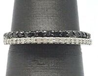 Sterling Silver 925 Black Diamond Pave Diamond Double Striped Band Ring Size 7