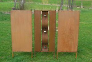 3-teilige Sichtschutz Wand Edelrost - Edelstahl - rost 160 x 120 cm- TOLL!