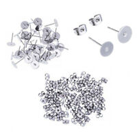 Studs Earring  Hypoallergenic Earring 100 Pairs 8mm 6mm Pad Fashion Flat Posts