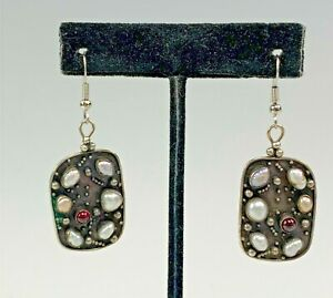 Sterling Silver Baroque Pearl & Tourmaline Earrings