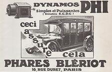 PUBLICITE PHARES BLERIOT  AUTOMOBILE ACCESSOIRES AUTO   AD  1913 -1H