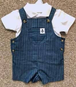 Starting Out Newborn Infant Baby Boy Two-piece Nautical Outfit 0-3m NWT Overalls