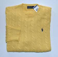 New Men's Polo Ralph Lauren Crewneck Cableknit Pullover Sweater Yellow M, Medium