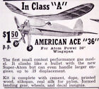 """Berkeley AMERICAN ACE 36 PLAN + PARTS PATTERNS for 36"""" 1/2A OT FF Model Airplane"""