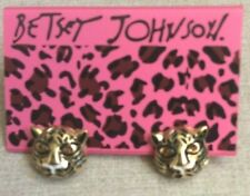 Betsy Johnson Charming Tiger Pierced Stud Earrings with Crystal Eyes Brand New!
