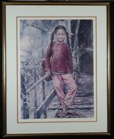 "Wai Ming Signed ""Pinkfish Girl"" Lithograph Limited Edition 1977 Well Framed"
