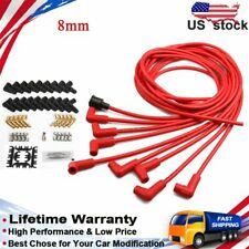 Universal 8mm Spark Plug Wire Silicone Red ignition Wires V8 Spiral Core 4041 US