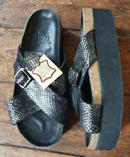 "Sole Diva s.5 leather black&silver snakeskin cross front 2"" platform sole shoes."