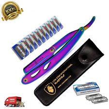 Barber Cut Throat Salon Straight Edge Shaving Razor Folding Knife 10 Blades