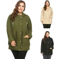 Women Plus Size Hooded Long Sleeve Zip-up Trench Coat RCAI 03