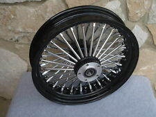 "16"" BLACK  FAT  SPOKE REAR WHEEL FOR HARLEY FXST SOFTAIL TOURING BAGGERS 2000-07"