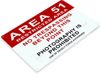 TIN SIGN Area 51 Sign Warning Sign Restricted No Trespassing Sign C373