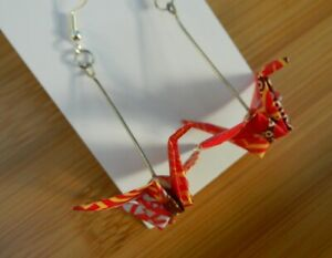 1 pair 3d ORIGAMI PAPER CRANE drop earrings HANDMADE Japanese patterned paper