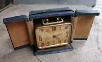 Rare Antique Travel Clock Brevete SGDG Alarm with Case French 1920 For Repair