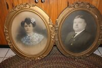 Pair Antique Victorian Oval Wall Ornate Gold Gilt Gesso Wood Frame Photographs W