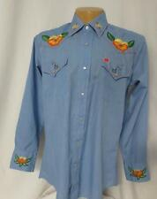 70's Vtg Ely Plain Chambray Embroidery Boho Western Fancy Snap Shirt  16/33