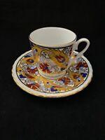 Elif Kutahya Porselan Demitasse Cup Saucer Gilded Gold Red & Blue Flowers Turkey