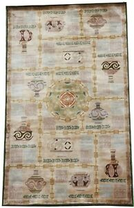 Art deco handmade silk Treasure hunt Tibetan rug good condition 7 x 4 FT