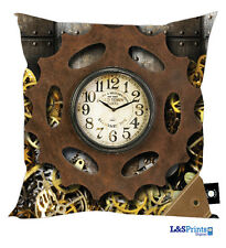 "STEAM PUNK DESIGN 18""X18"" CUSHION GREAT GIFT IDEA L&S PRINTS HOME DECO CLOCK COG"
