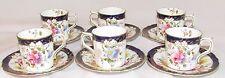 Set of 6 - Royal Crown Derby Tea Cups Demitasse Flowers Blue Rim