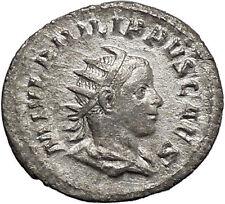 PHILIP II Roman Caesar with globe 245AD Silver Rare Ancient Roman Coin i48767
