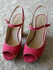 Tahari Misha Mary Jane Open Peep Toe Cork Platforms Heels Sandals Red Gold Sz 10