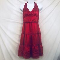 Vintage 90s Betsey Johnson Black Label Red Silk Tiered Halter Dress Size 4