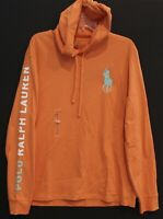 Polo Ralph Lauren Mens Coral Orange Big Pony Hoodie L/S T-Shirt NWT Size L