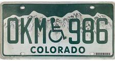Colorado HANDICAPPED License Plate GEM! WHEELCHAIR OKM 986