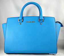 Michael Milchael Kors Selma Large Heritage Blue Leather Satchel Bag