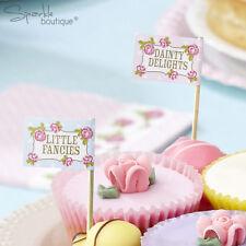 VINTAGE ROSE CAKE PICKS/Canape Sticks -Afternoon Tea Party-Pink- RANGE IN SHOP!
