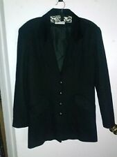 CHARLES KLEIN 100% Wool Black Blazer Coat Jacket Velvet Trim Leather Buttons 9