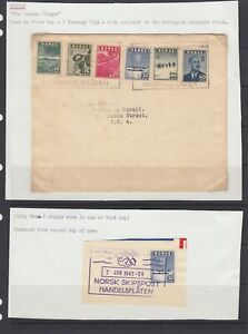 Norway 1943 London stamps cover( first day )  and 30 ore on piece